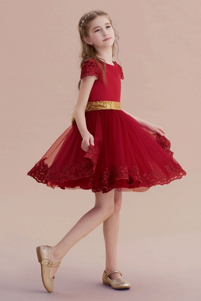 Cap Sleeve Bow Knee Length A-line Flower Girl Dress_5