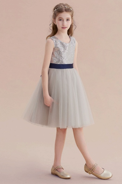 Elegant Sequins Tulle A-line Flower Girl Dress_5