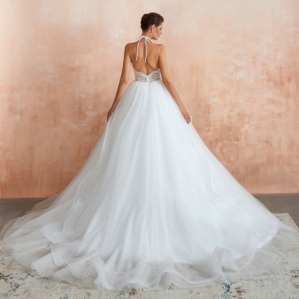 Halter Open Back Appliques Tulle Wedding Dress_3