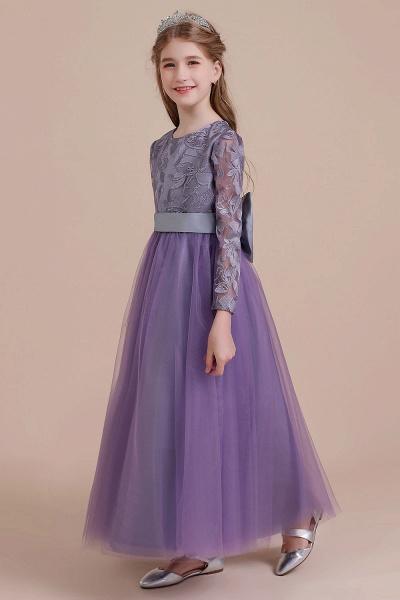 Long Sleeve A-line Ankle Length Flower Girl Dress_5