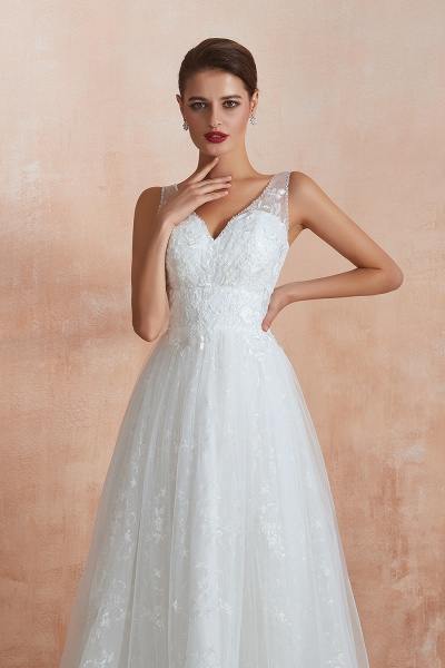 Elegant V-neck Lace Tulle A-line Wedding Dress_9
