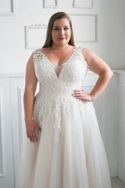 Plus Size V-neck Tulle A-line Wedding Dress_7