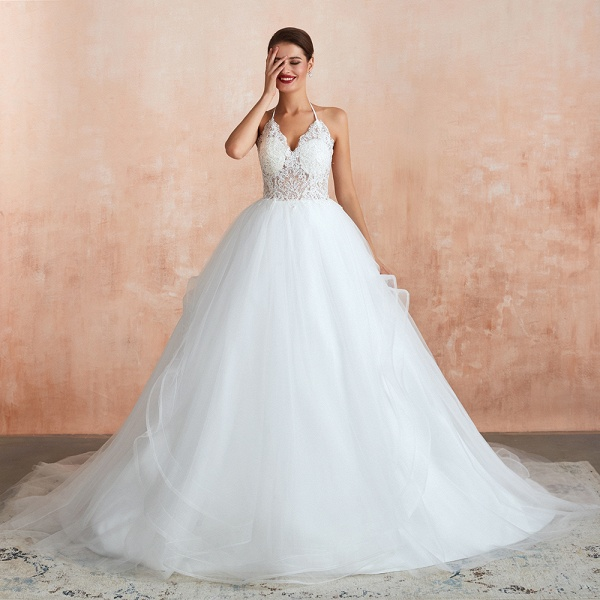 Halter Open Back Appliques Tulle Wedding Dress_5