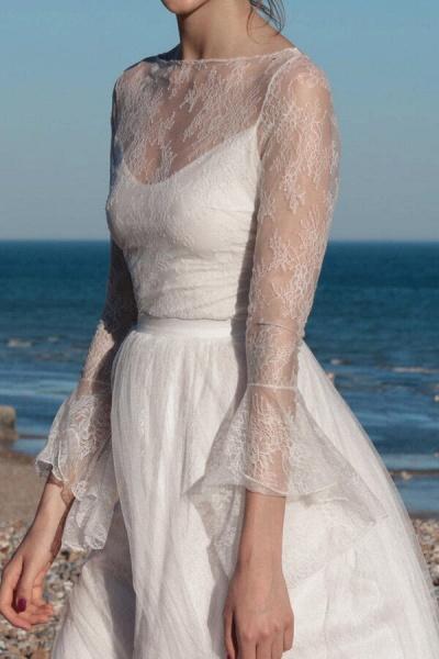 Open Back Long Sleeve Lace A-line Wedding Dress_6