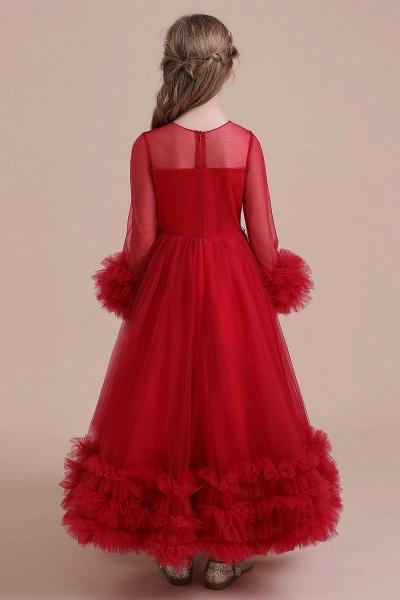 Long Sleeve Applique Tulle A-line Flower Girl Dress_3