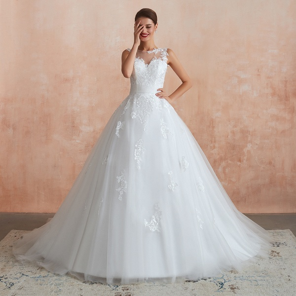 Amazing Illusion Appliques Tulle Wedding Dress_7