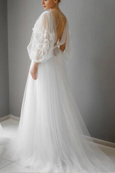 Graceful Appliques Long Sleeve Tulle Wedding Dress_6