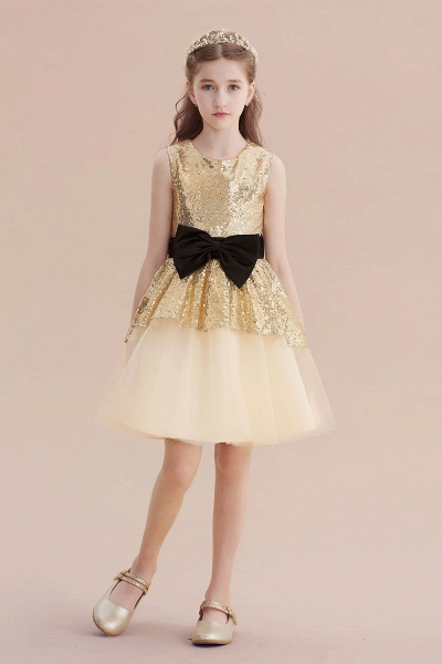 Tulle Sequins Bows Knee Length Flower Girl Dress_5