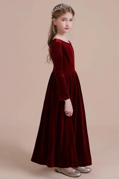 Long Sleeve A-line Velvet Flower Girl Dress_7