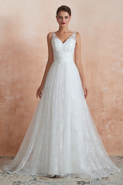 Elegant V-neck Lace Tulle A-line Wedding Dress_2