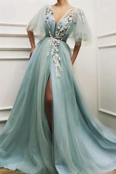 Sexy Deep V Neck Front Slit Prom Dress_1