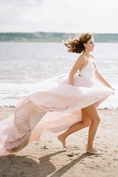 Spaghetti Strap Lace Tulle A-line Wedding Dress_2