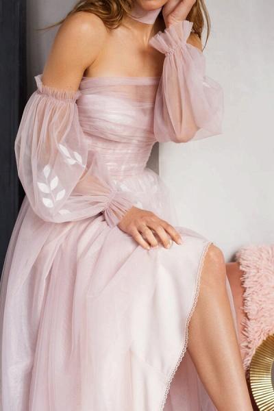 Graceful Long Sleeve A-line Tulle Wedding Dress_10