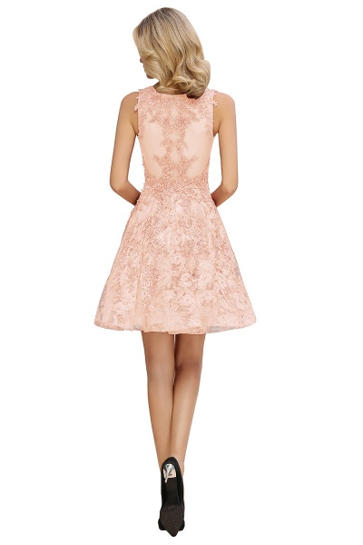 Princess V-neck Knee Length Lace Appliqued Homecoming Dress_16
