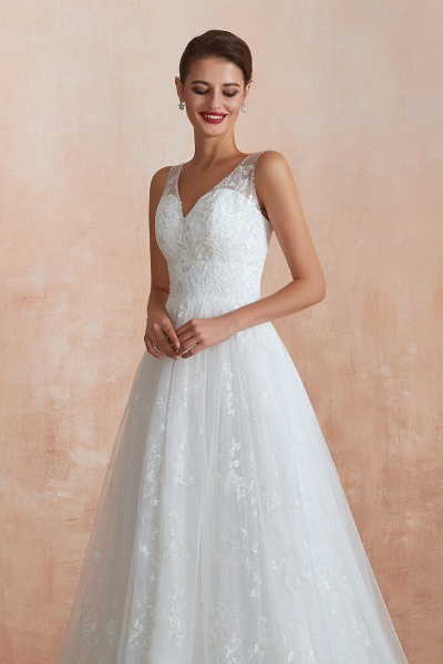 Elegant V-neck Lace Tulle A-line Wedding Dress_8