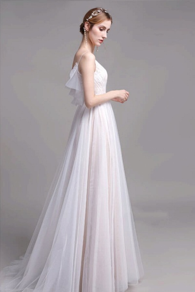 Graceful Spaghetti Strap Lace Tulle Wedding Dress_6