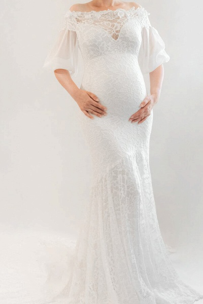 Awesome Off Shoulder Mermaid Lace Wedding Dress_2