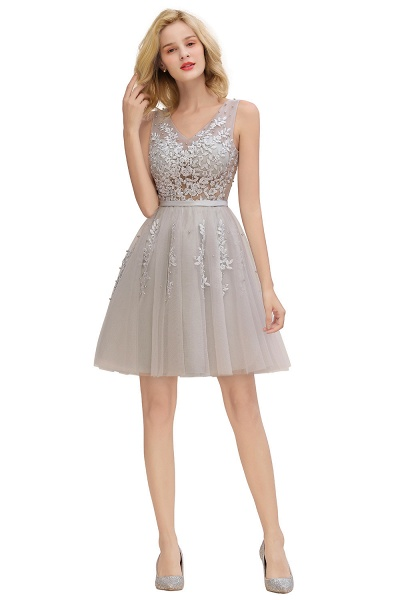 Sexy V-neck Lace-up Short Homecoming Dress with Lace Appliques_24