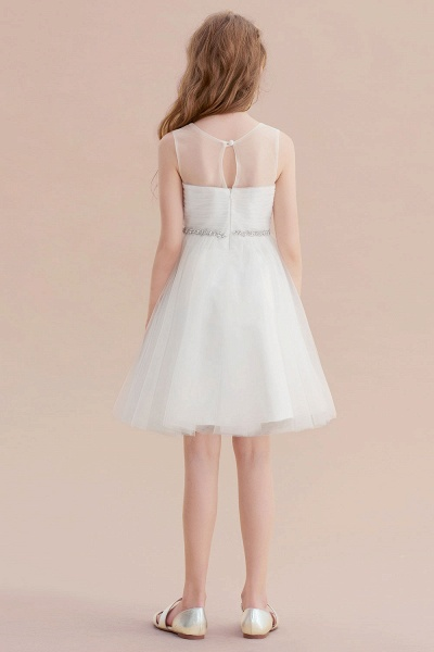 Illusion Knee Length A-line Tulle Flower Girl Dress_3