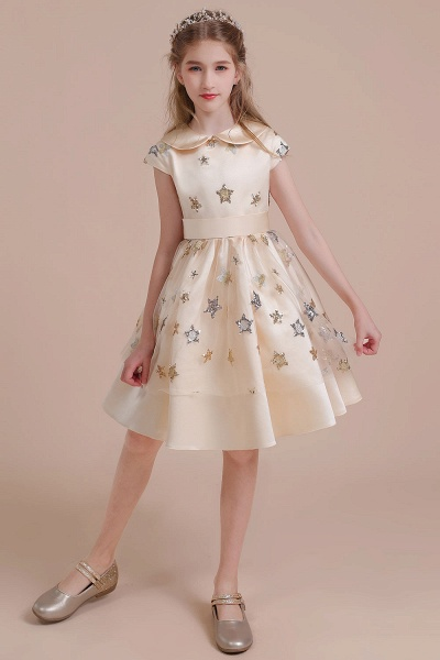 Cap Sleeve Star Sequins Tulle Flower Girl Dress_5