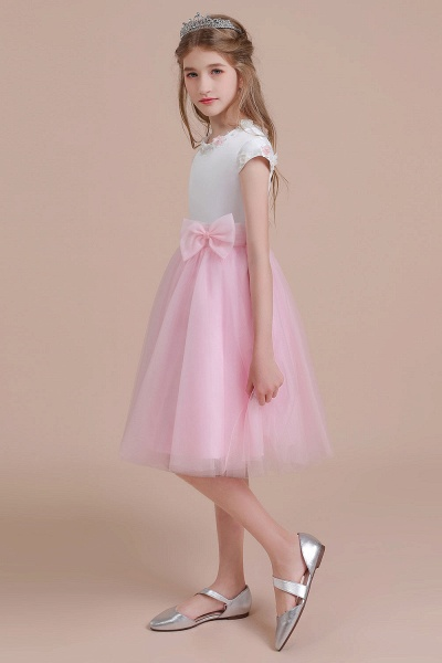 Cap Sleeve Tulle Knee Length Flower Girl Dress_4