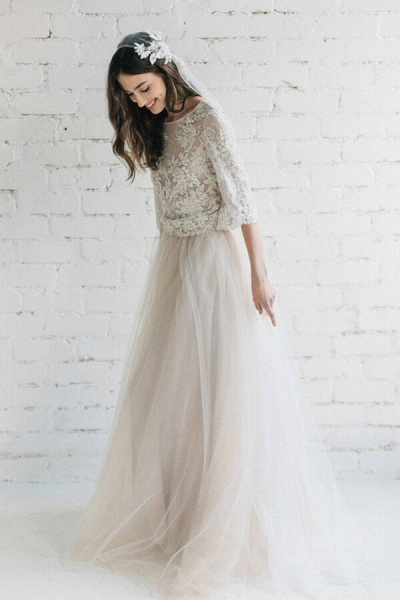 Eye-catching Lace Tulle Two Piece Wedding Dress_4