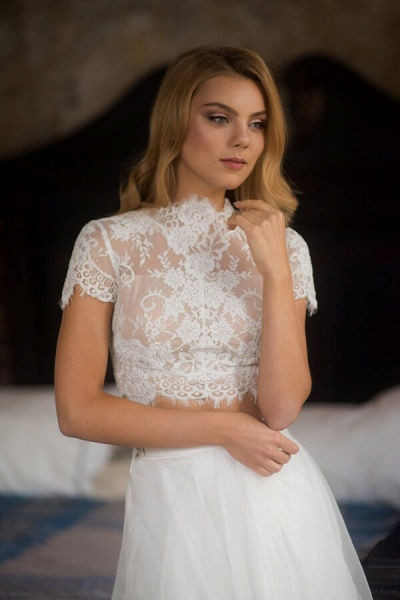 Short Sleeve Lace Tulle Two Piece Wedding Dress_3
