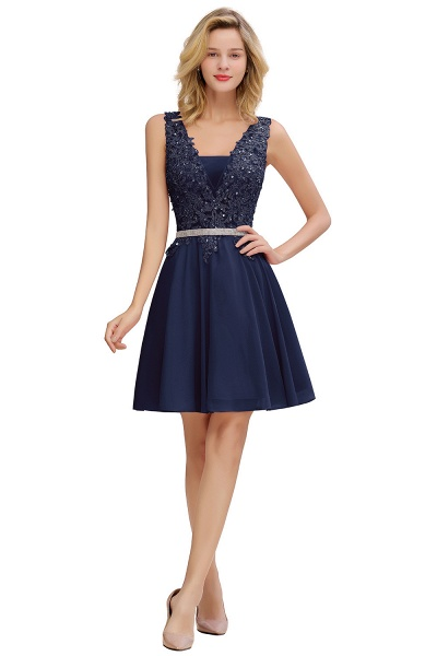 Cute Deep V-neck Short Homecoming Dress with Beaded Belt_3
