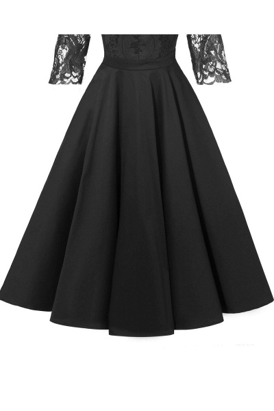 Retro Scoop neck  V-back Lace Dresses with Sleeves | A-line ruffles Burgundy Lace Cocktail Party Dresses_11