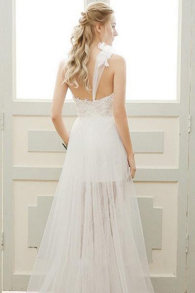 Elegant One Shoulder Tulle A-line Wedding Dress_3