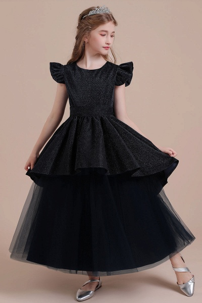 Glitter Cap Sleeve Tulle A-line Flower Girl Dress_4