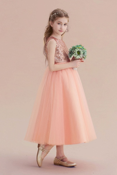 Graceful Sequins Tulle A-line Flower Girl Dress_4