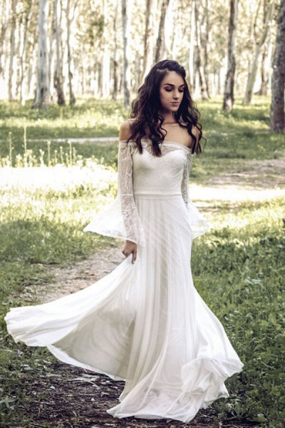 Off-the-shoulder Lace Chiffon A-line Wedding Dress_4