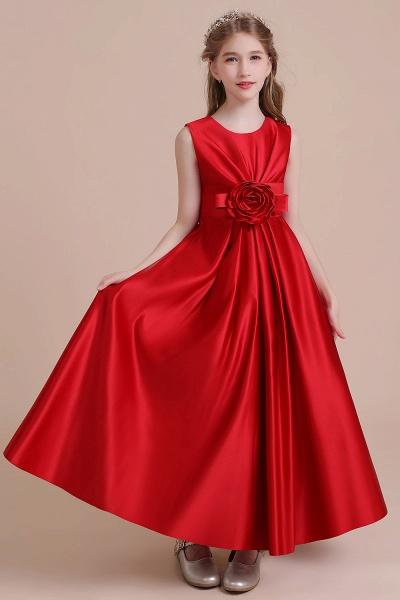 Chic Satin A-line Ankle Length Flower Girl Dress_6