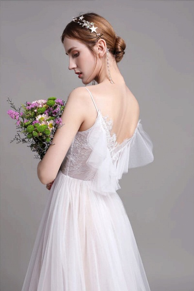 Graceful Spaghetti Strap Lace Tulle Wedding Dress_8