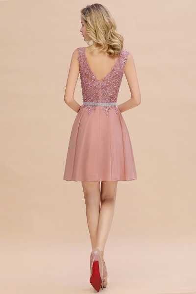 Cute Deep V-neck Short Homecoming Dress with Beaded Belt_15