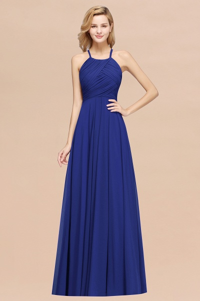 A-Line Chiffon Halter Ruffles Floor-Length Bridesmaid Dress_26
