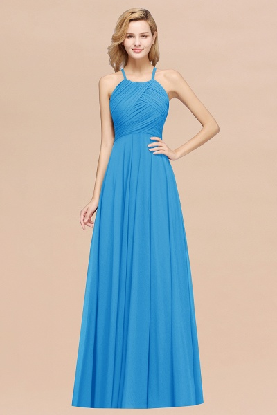 A-Line Chiffon Halter Ruffles Floor-Length Bridesmaid Dress_25
