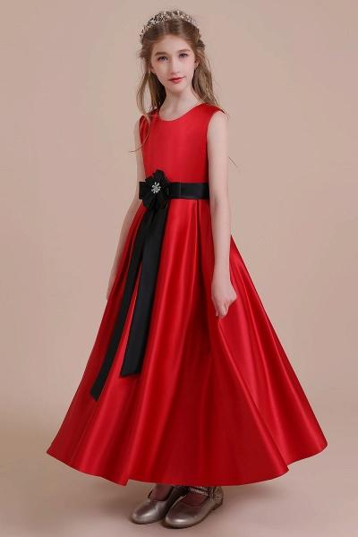 Elegant Satin A-line Flower Girl Dress_6