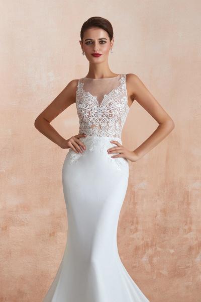 Chic Applique Satin Tulle Mermaid Wedding Dress_8