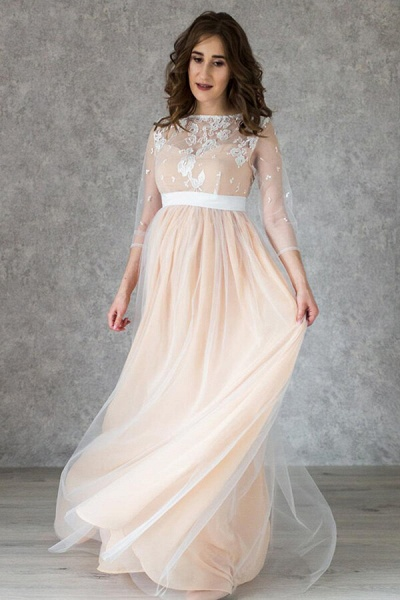 Graceful Applique Floor Length Tulle Wedding Dress_4