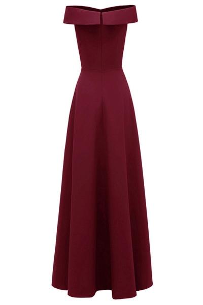 Women Simple Off-the-shoulder Bridesmaid Party Dress Long Burgundy Dress_8