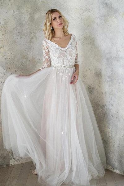 Best V-neck Floor Length Tulle Sheath Wedding Dress_1