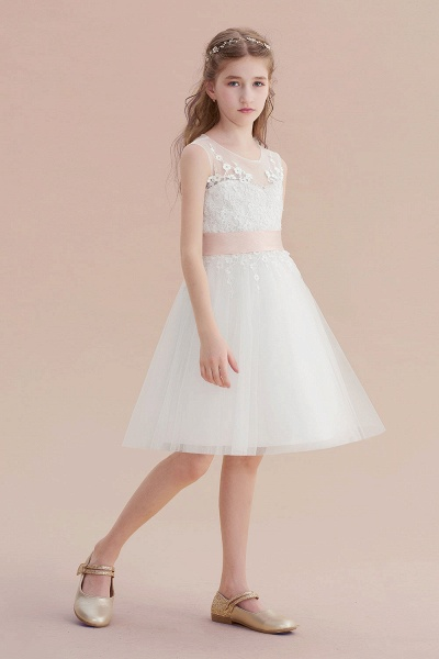 Illusion Appliques Tulle A-line Flower Girl Dress_5