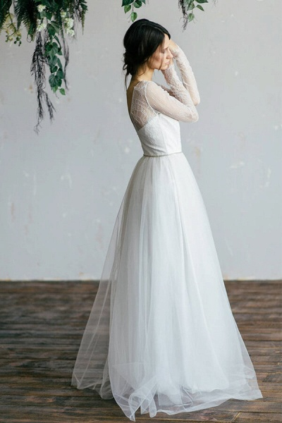 Chic Illusion Long Sleeve Lace Tulle Wedding Dress_6