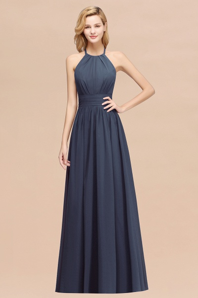 A-line Chiffon Appliques Halter Sleeveless Floor-Length Bridesmaid Dresses with Ruffles_39