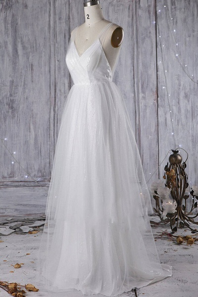 Affordable Ruffle Sequins Tulle Wedding Dress_6