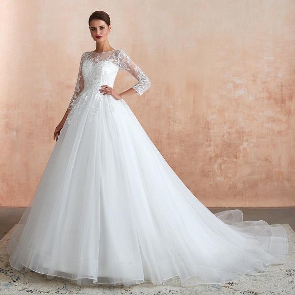 Wonderful Appliques Tulle A-line Wedding Dress_4