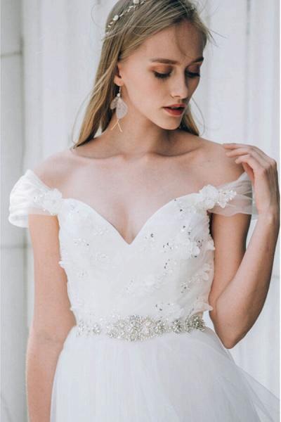Sweetheart Beading Tulle A-line Wedding Dress_9