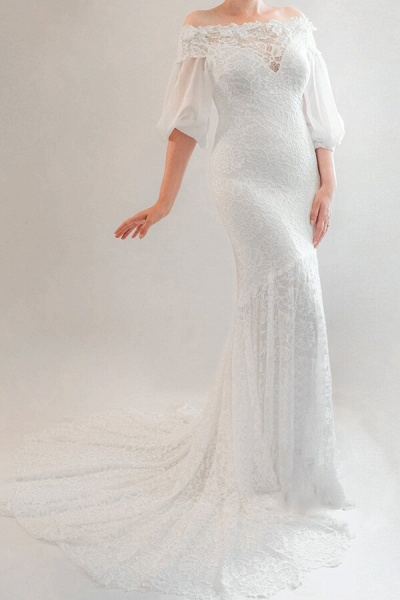 Awesome Off Shoulder Mermaid Lace Wedding Dress_4